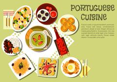 Bright national dishes of portuguese cuisine icon - stock illustration