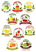 Fresh fruits retro icons for agriculture design Stock Illustration
