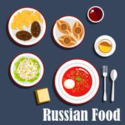 Typical dinner of russian cuisine flat icon - stock illustration