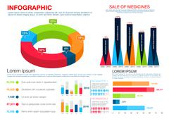Healthcare, medicine, pharmacology infographics - stock illustration
