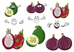 Cartoon sweet exotic fig, feijoa and pitaya fruits Stock Illustration