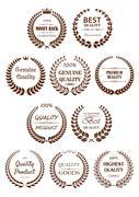 Quality guaranteed laurel wreaths symbols - stock illustration