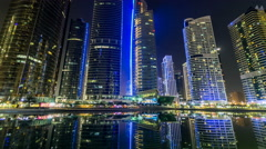 Residential buildings in Jumeirah Lake Towers timelapse hyperlapse in Dubai, UAE Stock Footage