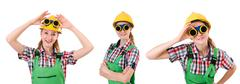 Woman in green coveralls isolated on white - stock photo