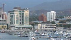 View of harbor and city, Santa Marta, Colombia Stock Footage