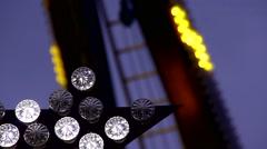 close up Fun Fair at night flickering lights - stock footage
