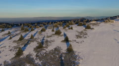 Aerial shot of winter race runner competing at Kopaonik mountain, Serbia. Stock Footage