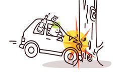 cartoon characters and car - car crash on tree - stock illustration