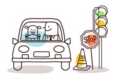 Cartoon characters and car - driving school Stock Illustration