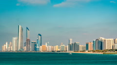 Cityscape of Abu Dhabi timelapse at Persian Gulf, UAE Stock Footage