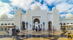 Sheikh Zayed Grand Mosque timelapse hyperlapse located in Abu Dhabi - capital Stock Footage