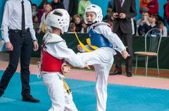 Orenburg, Russia - 23 April 2016: Taekwondo competitions among boys. - stock photo