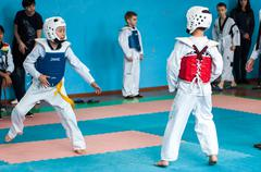 Orenburg, Russia - 23 April 2016: Taekwondo competitions among boys. Stock Photos