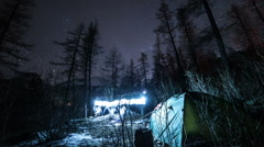 Camping Night Sky Timelapse in Forest. Stock Footage