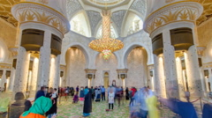 Magnificent interior of Sheikh Zayed Grand Mosque timelapse hyperlapse with Stock Footage