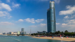 Cityscape of Abu Dhabi timelapse hyperlapse at Persian Gulf, UAE Stock Footage