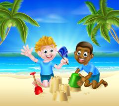 Cartoon Kids Having Fun in the Sand - stock illustration
