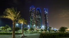 Famous towers buildings in Abu Dhabi night timelapse hyperlapse Stock Footage
