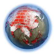 Southeast Asia on brick wall Earth - stock illustration