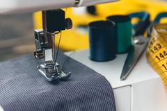 Sewing machine and item of clothing Stock Photos