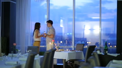 Romantic Couple in Cafe - stock footage
