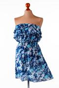 Casual blue strapless dress. - stock photo
