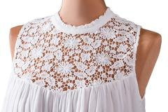 Sleeveless top with lace insert. - stock photo