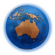 Australia on wooden Earth - stock illustration