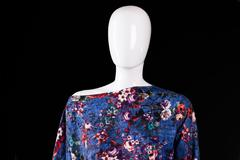 Asymmetric top with floral pattern. - stock photo