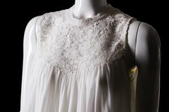 White top with lace insert. - stock photo