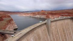 Glen Canyon Steep Concrete Arch Dam Wall Stock Footage