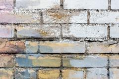 Background texture of a old white brick wall - stock photo