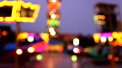 Fun Fair at night defocused - stock footage