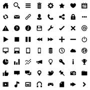 64 Flat Vector Icons for Web Business and Social Stock Illustration