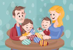 Cartoon Vector Family Celebrating Easter at Home - stock illustration
