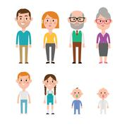 Flat Vector Caucasian Family Members. Parents, Grandparents, Children and Baby - stock illustration