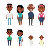 Flat Vector African American Family Members. - stock illustration