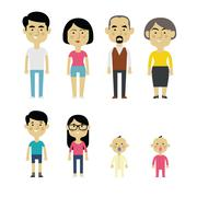 Flat Vector Asian Family Members. Parents, Grandparents, Children and Baby - stock illustration