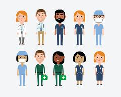 Illustration Of Characters Depicting Medical Occupations - stock illustration