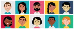 Set of Diverse Avatars for Profile Pictures. Different Nationalities. Stock Illustration
