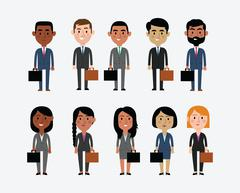 Illustration Of Characters Depicting Business Occupations - stock illustration