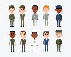 Character Illustrations Depicting Military Occupations Stock Illustration