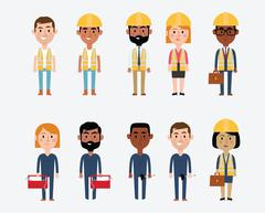 Character Illustrations Depicting Construction Occupations - stock illustration