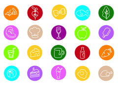 Illustration Of Icons Related To Food, Drink And Diet Stock Illustration