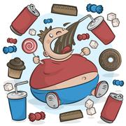 Child Obesity Graphic. Fat Kid Eating Sugary Treats. - stock illustration
