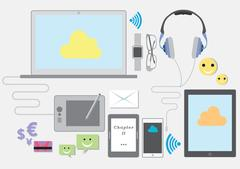 Vector Illustration Of Communication Technology Devices - stock illustration