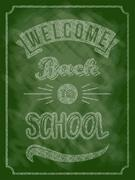 Back to school poster with text on chalkboard. Vector illustration. Stock Illustration