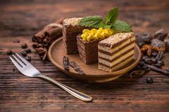 Chocolate and coffee layer cake - stock photo