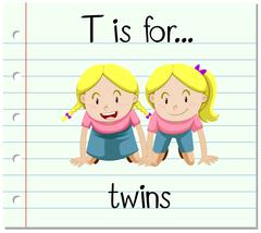 Flashcard letter T is for twins - stock illustration