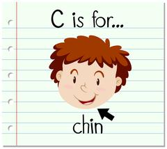Flashcard letter C is for chin Stock Illustration